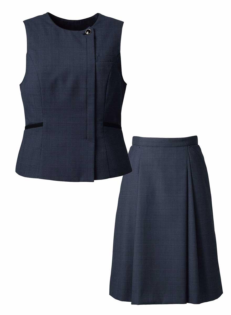 エイジレスに着られるクラシカルモダンな上品ベスト+スカートセット - FV36380/FS45950商品画像10