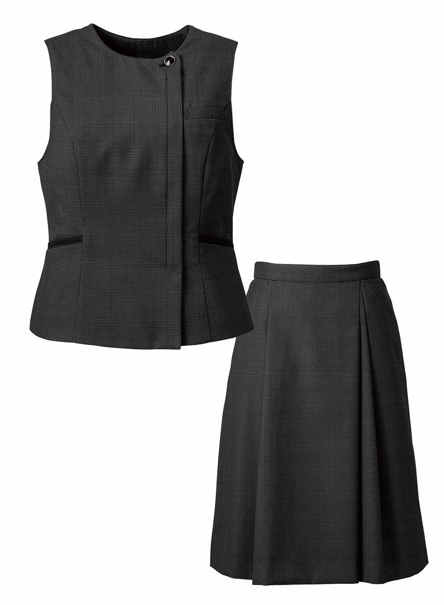 エイジレスに着られるクラシカルモダンな上品ベスト+スカートセット - FV36380/FS45950商品画像11
