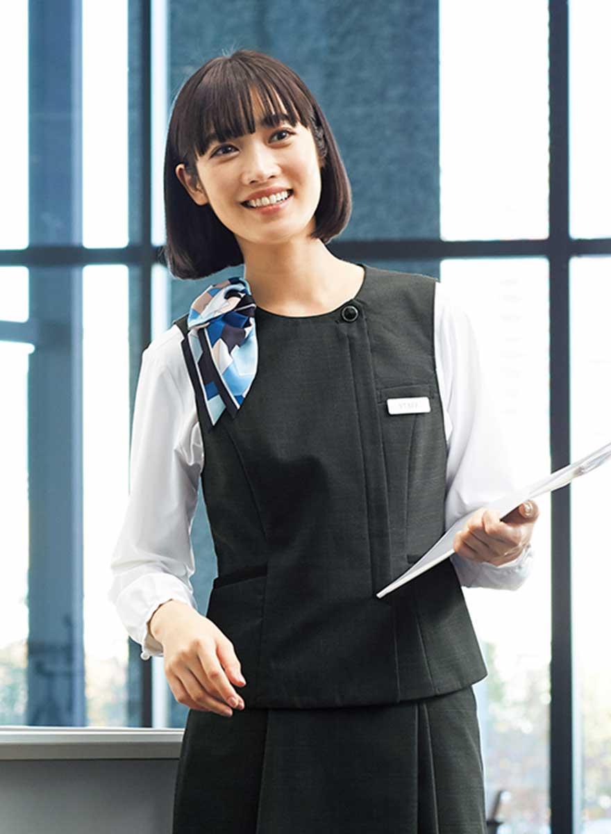 エイジレスに着られるクラシカルモダンな上品ベスト+スカートセット - FV36380/FS45950商品画像2