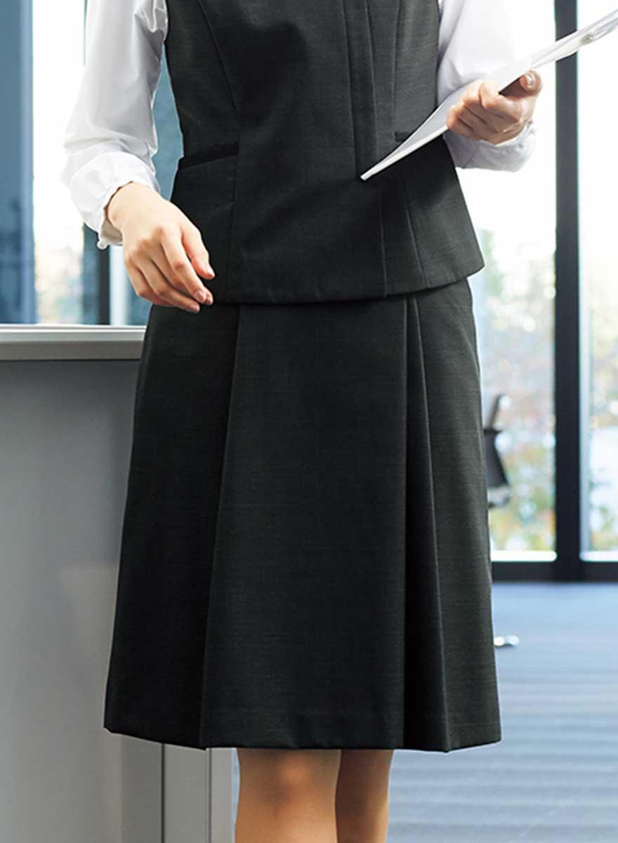 エイジレスに着られるクラシカルモダンな上品ベスト+スカートセット - FV36380/FS45950商品画像3