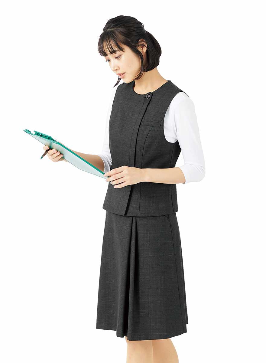 エイジレスに着られるクラシカルモダンな上品ベスト+スカートセット - FV36380/FS45950商品画像5