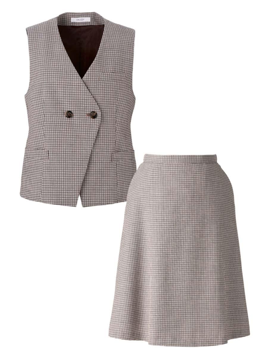 英国調チェック×ブラウンで洗練スタイルのベスト+スカートセット - EAV794/EAS795商品画像5