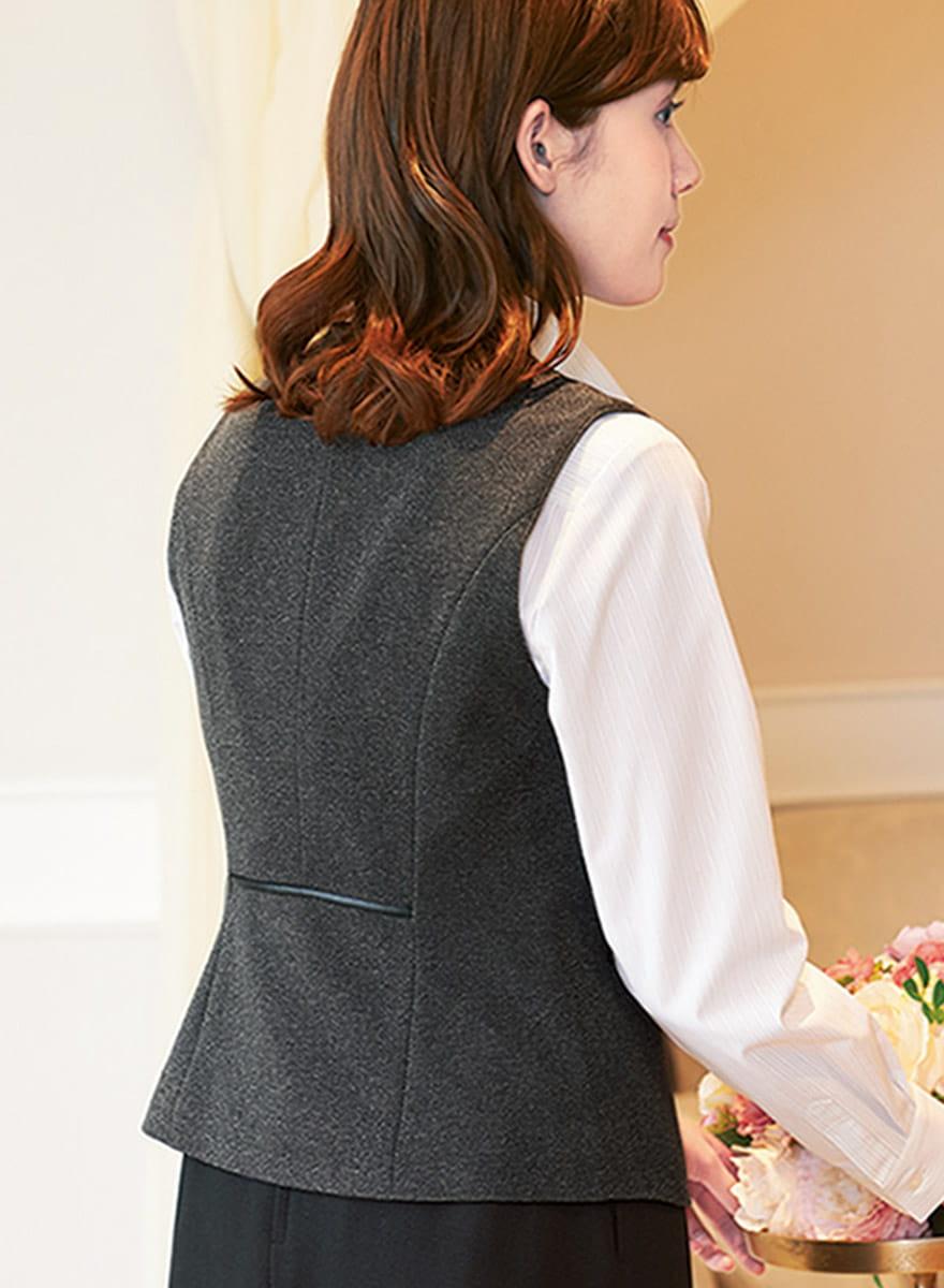 表情豊かな杢グレーが格調高く見せる、しっかり肉厚のストレッチ素材のベスト+スカートセット - 9762/9858商品画像5