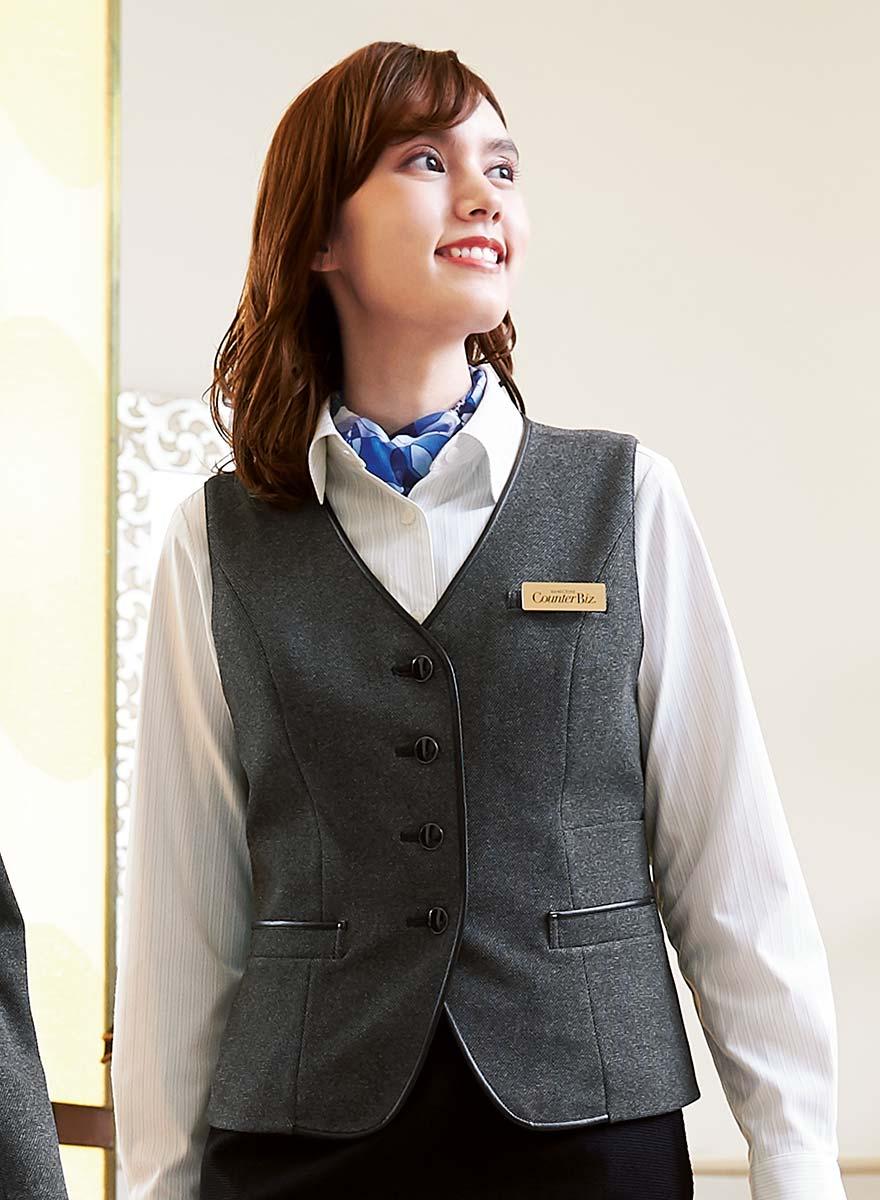 表情豊かな杢グレーが格調高く見せる、しっかり肉厚のストレッチ素材のベスト+スカートセット - 9762/9858商品画像2