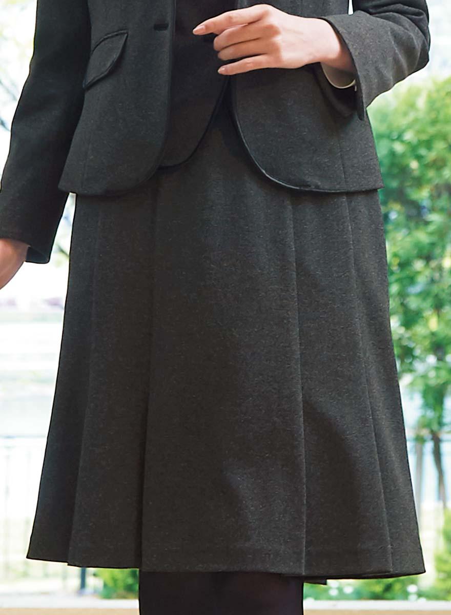 表情豊かな杢グレーが格調高く見せる、しっかり肉厚のストレッチ素材のベスト+スカートセット - 9762/9858商品画像3