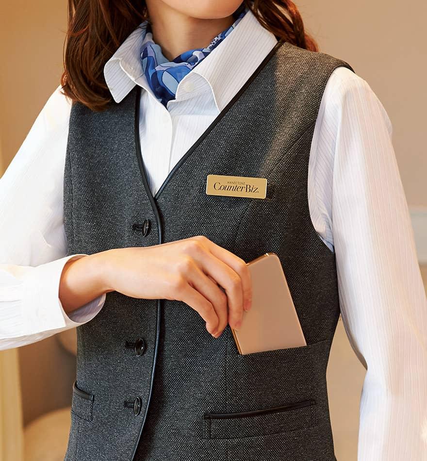 表情豊かな杢グレーが格調高く見せる、しっかり肉厚のストレッチ素材のベスト+スカートセット - 9762/9858商品画像4