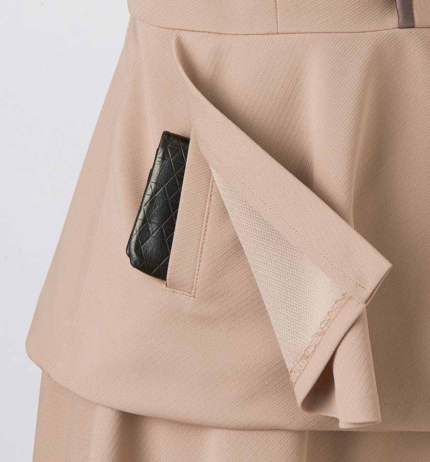 ドレープをいかしたきれいなシルエットで振る舞いがエレガントにうつるワンピース+ジャケットセット - 7732/9185商品画像4