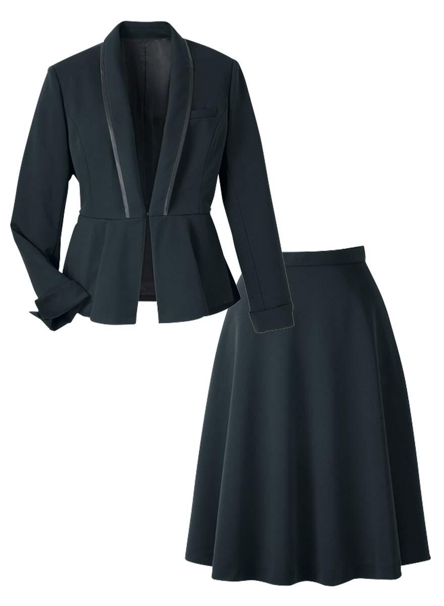 美しいドレープが魅力!ペプラムがアクセントのジャケット+スカートセット - 9185/9857商品画像9