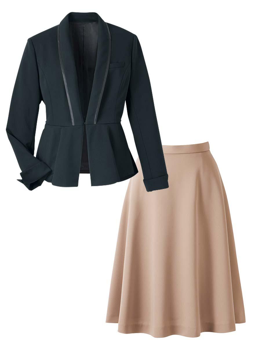 美しいドレープが魅力!ペプラムがアクセントのジャケット+スカートセット - 9185/9857商品画像11