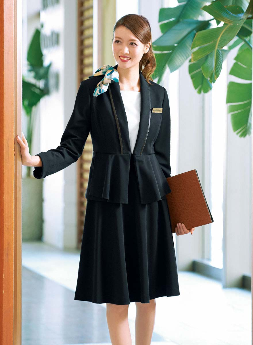 美しいドレープが魅力!ペプラムがアクセントのジャケット+スカートセット - 9185/9857商品画像2