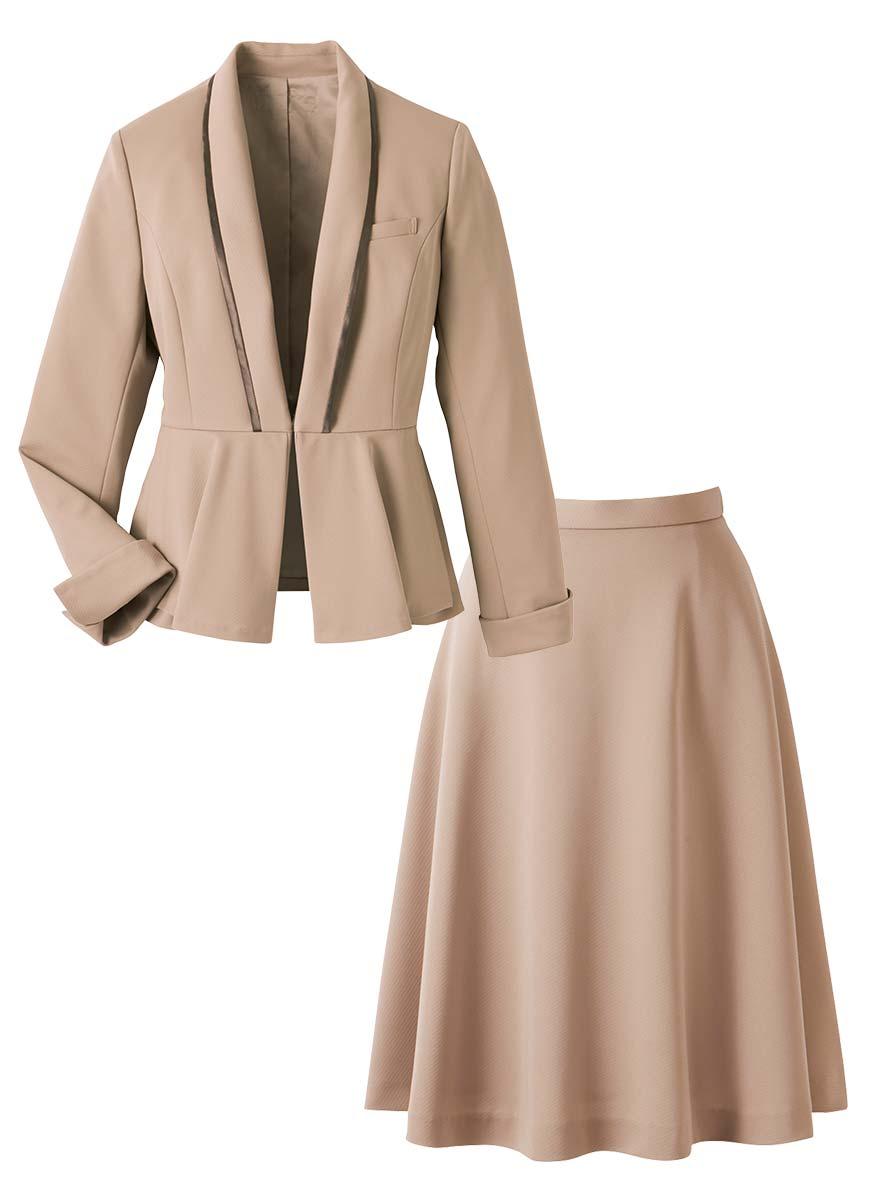 美しいドレープが魅力!ペプラムがアクセントのジャケット+スカートセット - 9185/9857商品画像8