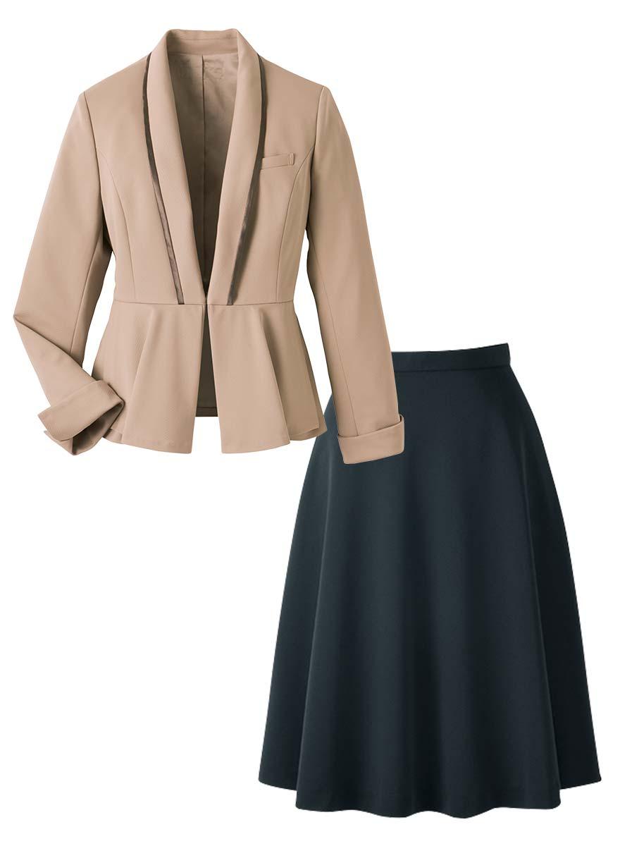 美しいドレープが魅力!ペプラムがアクセントのジャケット+スカートセット - 9185/9857商品画像10