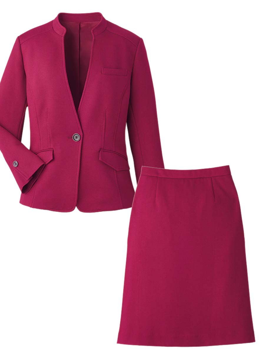 首まわりを美しく見せるスタンドカラーとVゾーンにこだわったジャケット+スカートセット - 9175/9851商品画像9