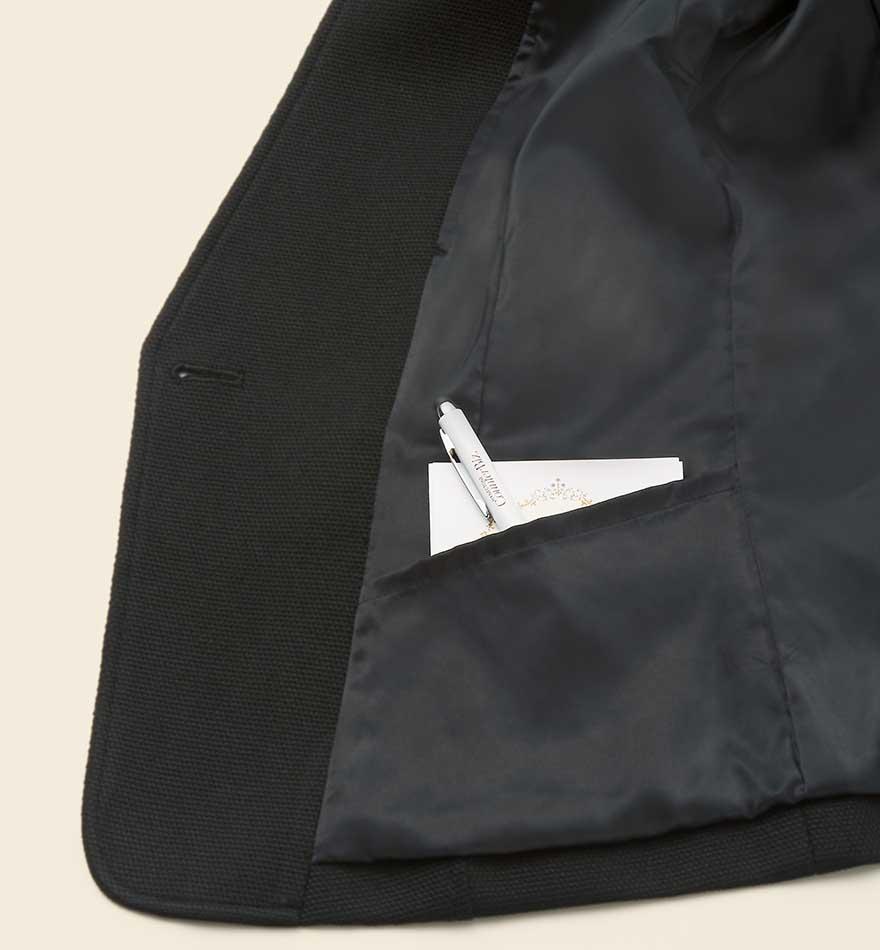首まわりを美しく見せるスタンドカラーとVゾーンにこだわったジャケット+スカートセット - 9175/9851商品画像3