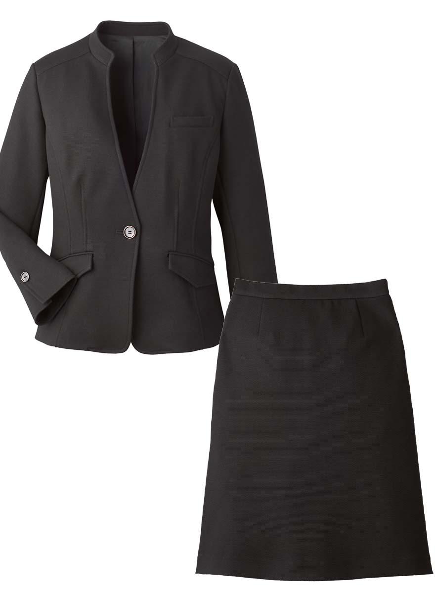 首まわりを美しく見せるスタンドカラーとVゾーンにこだわったジャケット+スカートセット - 9175/9851商品画像10